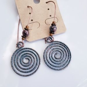 NWT Boho Swirl Earrings Brass Patina Lightweight